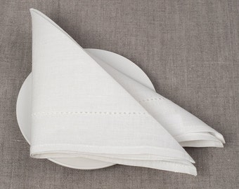 White Linen Napkin set of 6 - White napkins - 13 x13 inch size