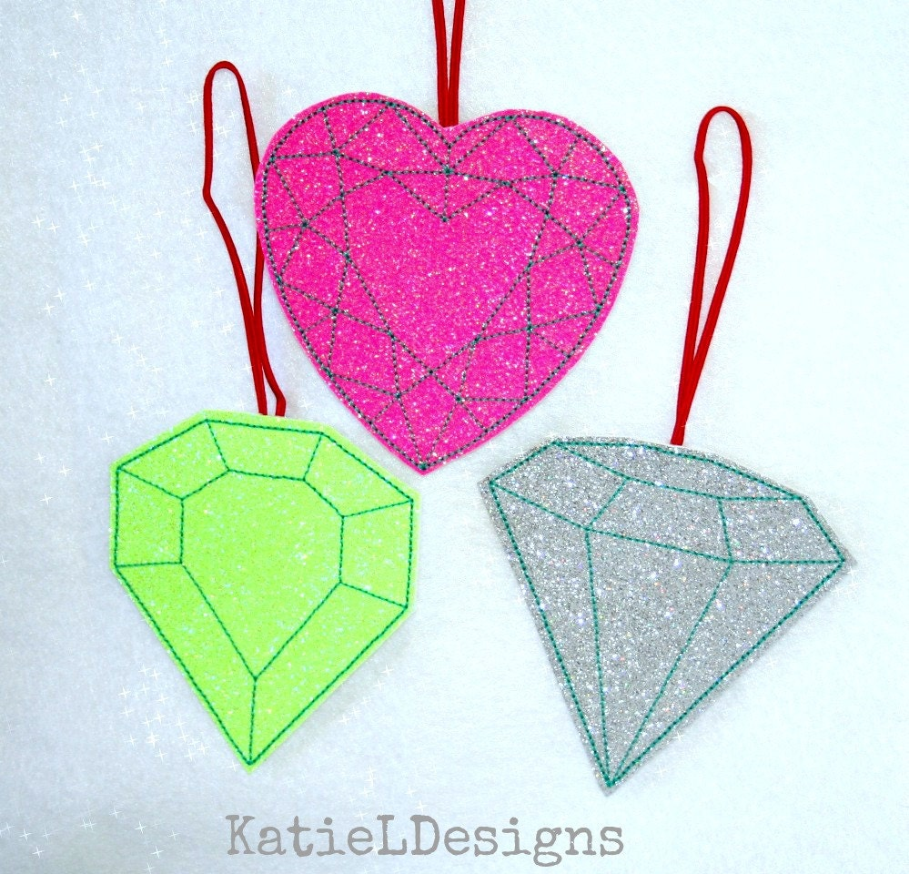 In The Hoop Gem Ornaments Set Machine Embroidery Design