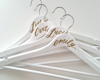 Personalized Hand Lettered CALLIGRAPHY BRIDESMAID HANGER - One (white, name only)