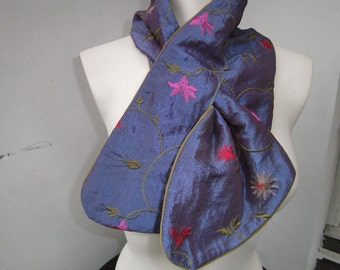 Scarf, jeansblue Scarf, Scarf with Flowers ,  green Samtscarf - handmade Scarf - Gift for her