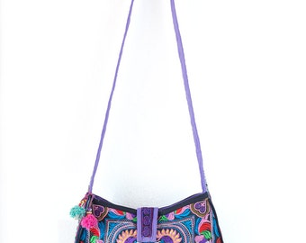 Colorful Bird Hill Tribe Crossbody Bag Hmong Embroidered Large Size Thai Fair Trade (BG303CBLS)