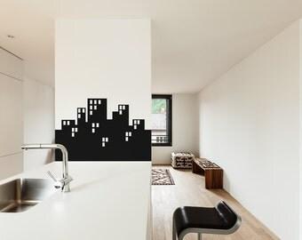 City Skyline Silhouette - Vinyl Wall Art Decal