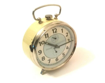 70's Yellow & Blue Old Vintage Alarm Clock - Circula - Germany - Manual Winding - Art Deco - Glow in the dark hands - Retro Shabby Chic