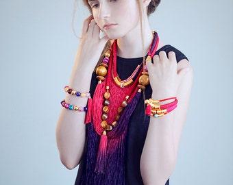 Red Cord Bracelet, Red Rope Bracelet, Boho Chic Bracelet, Pink Tassel Bracelet, Fringe Bracelet