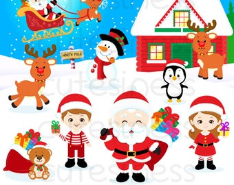 Christmas Digital Clipart,  Christmas Clipart, Santa Clipart, Santa claus Clipart