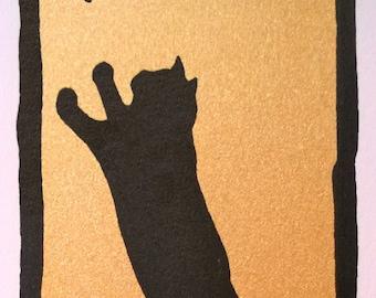 2 color, cat silhouette, silkscreen print, gold + black
