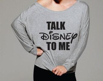 Disney camiseta para las mujeres, el suéter de hombro, divertido suéter mujeres, suéter flojo para las mujeres, grandes suéteres, Disney Talk me