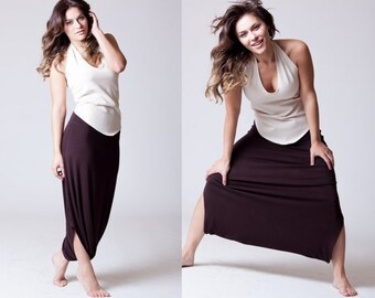 Harem Pants, Skirt Pants, plus size, Drop Crotch, Brown, Black, Grey, Long Classic Design