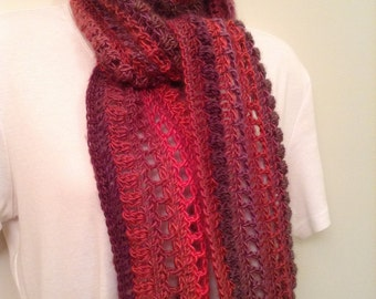 Pink and Purple Crocheted Skinny Scarf