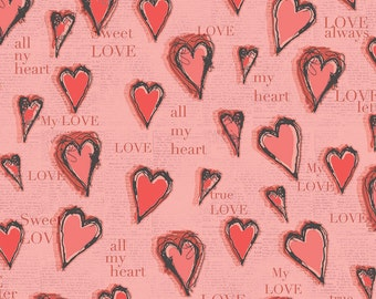 All My Heart Fabric, Hearts and Writing, All My Heart Valentine's Fabric by Iron Orchid Designs for Clothworks.