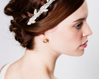 Sparkling Silver Crystal and Lace Vine Headband, Handmade