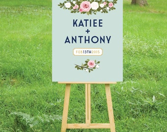 The FRANKIE . Welcome Wedding Ceremony Reception Sign . Printed on Heavy Paper, Foam Board, Canvas White Blush Pink Roses Mint Teal Vintage