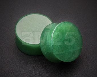 A Pair of Jade Aventurine Stone Double Flared Ear Gauge Plug