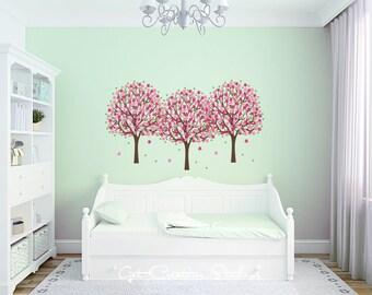 Spring Tree Decal Nursery Tree Decal Flower Tree Wall Decal Girls Floral Decal Tree Wall Art Spring Tree Decal Floral Tree Decor