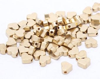 25 Pcs Raw Brass Heart Beads, 7,2mm , Mini Heart Charms, Spacer Heart Beads, Solid Brass Heart,  KA20