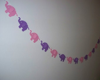 Elephant Garland - Pink and Purple - Cardstock Paper - Baby Shower Banner Wall Decoration 4 5 8 or 10 foot