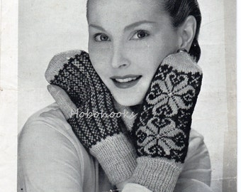 Womens Fair Isle Mitts Ladies Fair Isle Mitts Womens Fair Isle Mittens Ladies Mittens 4 Ply Womens Knitting pattern PDF instant Download