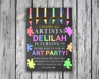Art Birthday Party Invitation - Painting Party Invitation - Calling All Artists - Paintbrushes - Chalkboard - Digital File - Pastels