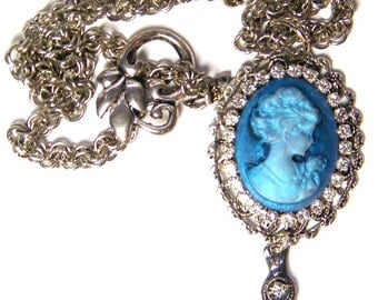 Cameo Necklace, Blue Cameo Necklace with Rhinestones, Cameo Jewelry, Silver Necklace, Victorian Jewelry, Victorian Necklace,Romantic Jewelry