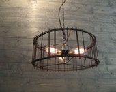 "Industrial Chandelier 17"" Diameter Lighting Rustic Brown Steel Cage - Repurposed Industrial Metal Ceiling Fixture - Hanging or Flush Mount"