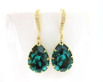 Emerald Green Earrings Swarovski Crystal Teardrop Earrings Wedding Jewelry  Bridal Earrings Bridesmaid Gift Dangle Drop Earrings (E135)