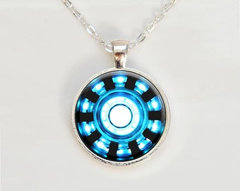 Iron Man Inspired Arc Reactor Pendant, Tony Stark Arc Reactor inspired necklace, Iron Man pendant, Iron Man Round Arc Reactor Necklace