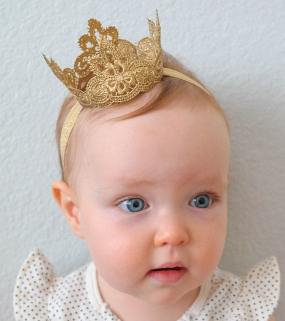 The Regal Lace Princess Crown Baby Crown Gold Crown