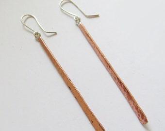 Longe Copper and Silver Earrings - Longe Hammered Copper & Silver Dangle  -Trendy Chic Jewelry - Handmade Jewelry