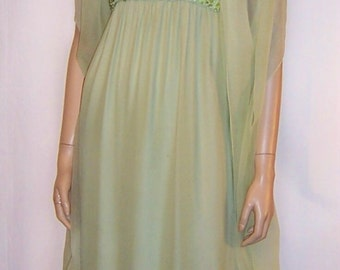 Pale Green Chiffon Gown with Sequined and Beaded Bodice and Matching Chiffon Shawl