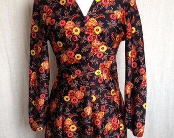 Abito in jersey ottoman, fantasia floreale, vintage, Parigi Kiliwatch