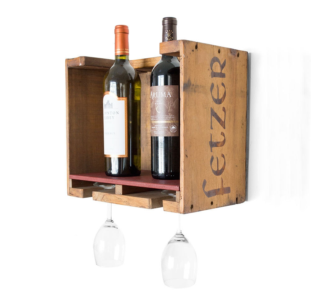 Wood wine rack vintage wooden wine box rustic wine rack for Timber wine box