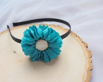 Teal Flower Girl Hairband - Headband - Blue Green