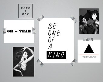 Fashion, fashion quote, be original, be one of a kind, different, unique, poster, print, typography, fashion typography, black and white art