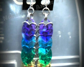 Rainbow Scale Mail Earrings