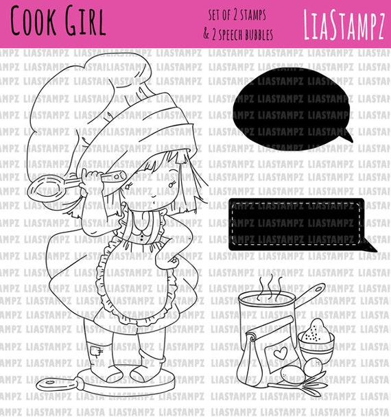 Digital stamp -Cook Girl set. digital stamp. in the kitchen stamp. cute girl stamp. LiaStampz