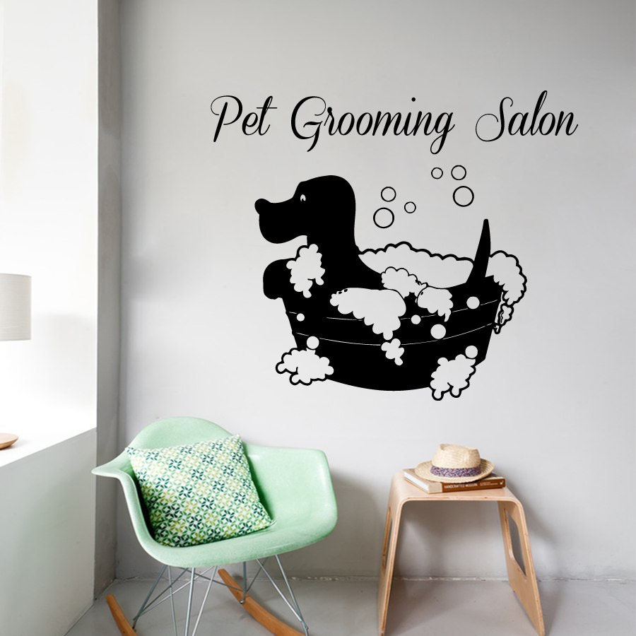 Free shipping wall decals pet grooming salon by decalmyhappyshop - Stickers salon design ...