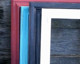ONE  Upcycled Vintage Frame- 10x13 Vintage Frames in Your Color-Distressed Rustic Hand Painted, Nursery, Wedding and Home Decor