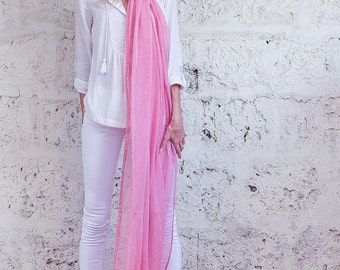 Pink Scarf, Extra Long Scarf, Womens Scarf, Cotton Scarf, Soft Scarf, Sheer Scarf, Gift For Her, Hanamer