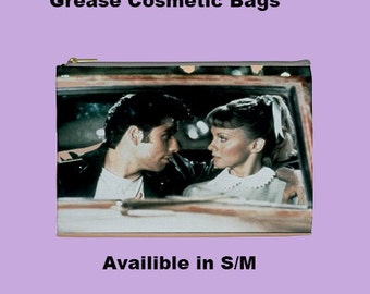 Grease Cosmetic Bag, Cosmetic Bag, Make Up Bag,Grease 70's,70's,50s ,70's films,70's bags