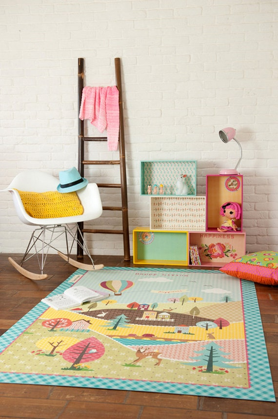 Happy country living linoleum rug, Decorative PVC rug, Bedroom mat, Colorful kids rug