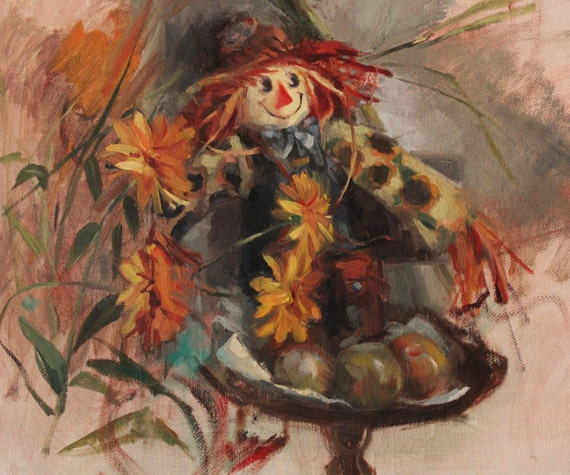 Items similar to original oil painting scarecrow painting for Scarecrow home decorations co ltd