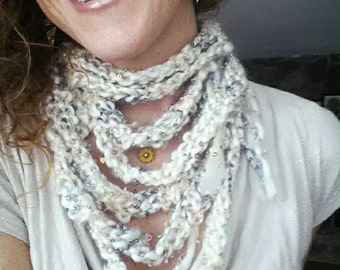 Knit infinity scarf Womens necklace, Cream meets gold! Eight tiered custom knit infinity scarf/necklace