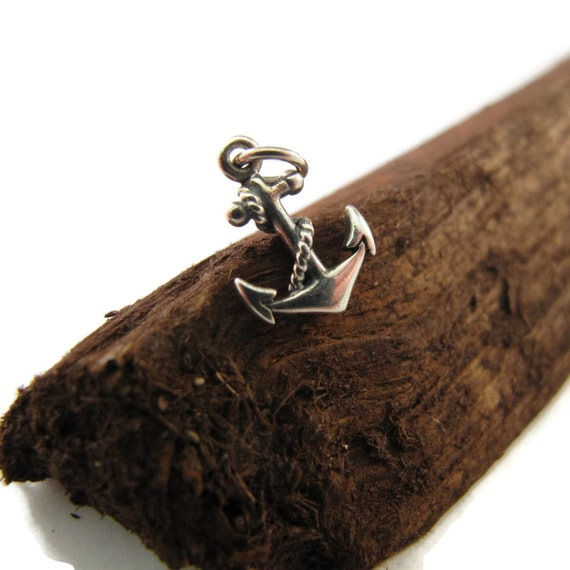 Silver Anchor Charm, Sterling Silver Small Nautical Pendant, Double Sided Realistic Anchor with Rope, Jewelry Supplies (Ch 600)