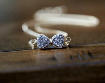 Bowtie Necklace , Druzy Quartz In Silver , Gold, Rose Gold , Platinum Gemstone Bow Tie Ribbon - Tuxedo