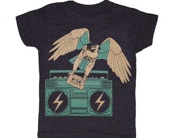KIDS Hawk Boombox  Tshirt Awesome Music Stereo Cassette Mixtape Bird Rock HipHop  Eagle T-shirt Boy Girl Toddler Youth Children DJ Tee Shirt