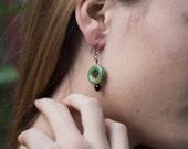 Trail Blazer Earrings Rustic Green Earrings Ceramic Copper Handmade Jewelry San Diego California USA