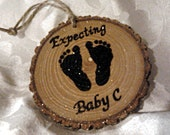 EXPECTING BABY ORNAMENT Announcing Pregnancy New Baby Ornament 1st Christmas Expecting Baby Announcement Pregnancy Reveal to Grandparents