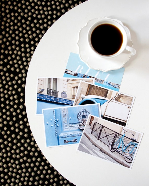 Paris Postcard Set, Blue Travel Postcards 4x6 Art Print, Affordable Art, Paris Print Set, College Student Gift for Her Stocking Stuffer