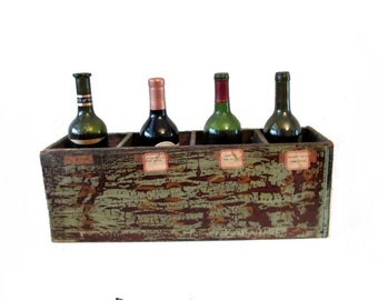 Primitive painted wood box - Vintage railroad memorabilia - Rustic - Industrial - 21 x  8 x 7