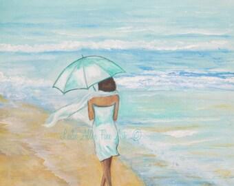 """Woman Art Painting Original Ocean Beach Painting Woman Brunette Woman Seaside Wall Art """"Seaside Stroll"""" Leslie Allen Fine Art"""